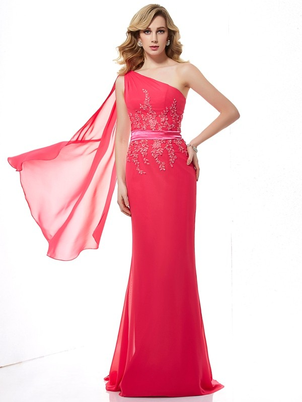 Chicregina Sexy Sheath One-Shoulder Chiffon Sweep Train Dress With Beading