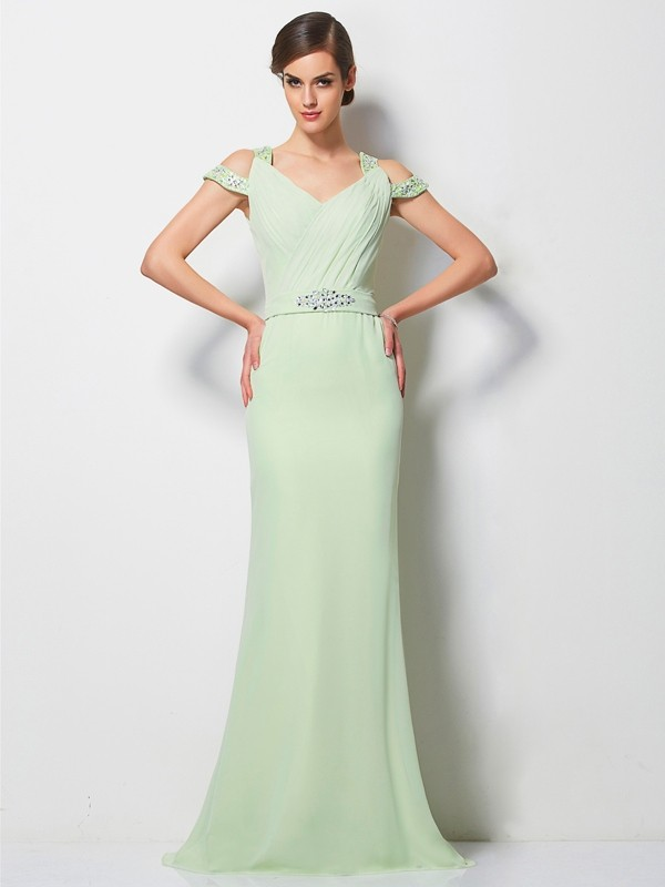 Chicregina A-Line V-neck Sweep Train Chiffon Dress With Rhinestone