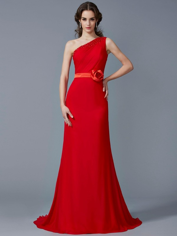 Chicregina Sexy A-Line One-Shoulder Sweep Train Chiffon Dress With Embroidery