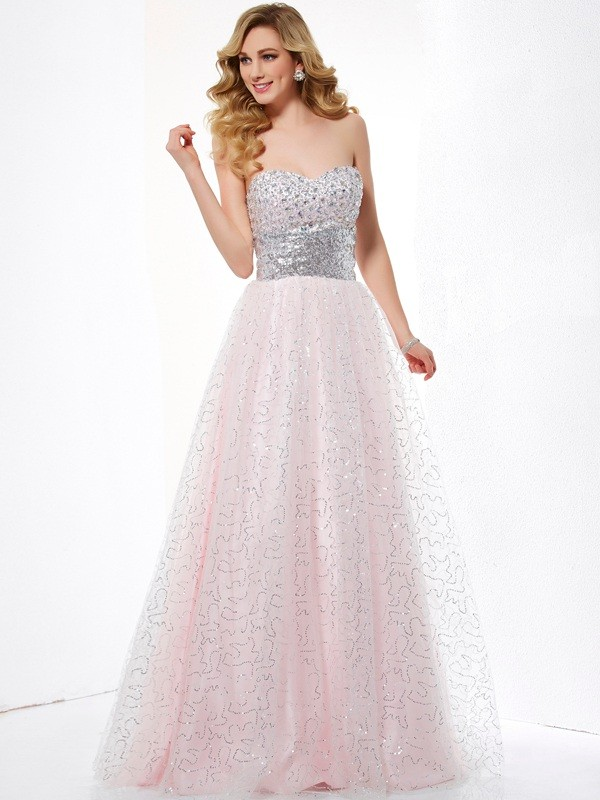 Chicregina Ball Gown Sweetheart Satin Long Dress With Beading
