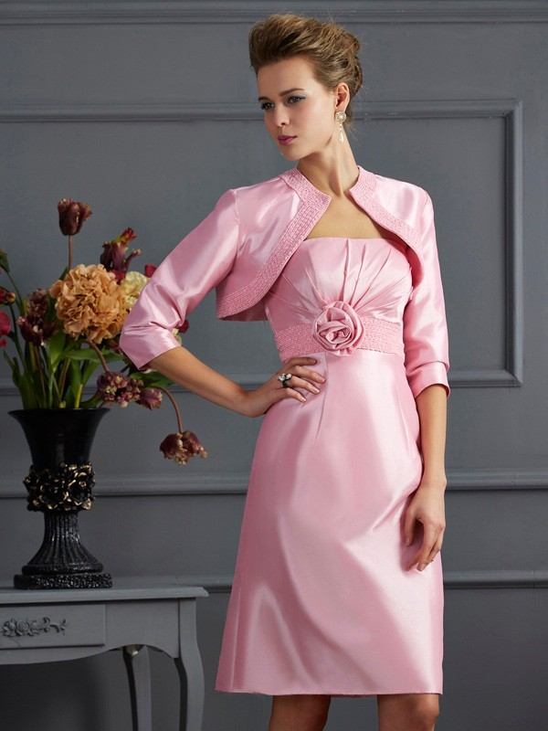 Chicregina Sheath Strapless Knee-Length Taffeta Dress With Ruched