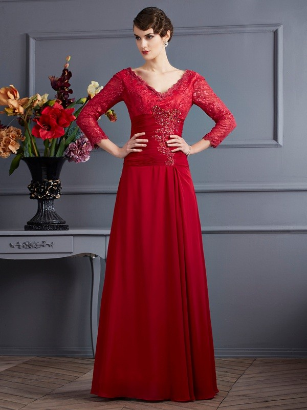 Chicregina A-Line Chiffon 3/4 Sleeves Long V-neck Dress With Beading