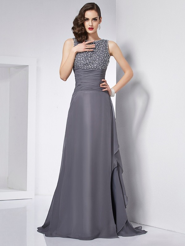 Chicregina A-Line Jewel Chiffon Sweep Train Dress With Beading