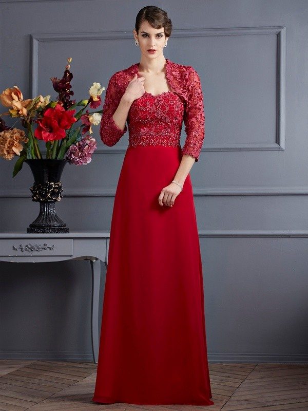 Chicregina A-Line Sweetheart Long Applique Chiffon Mother of the Bride Dress With Applique
