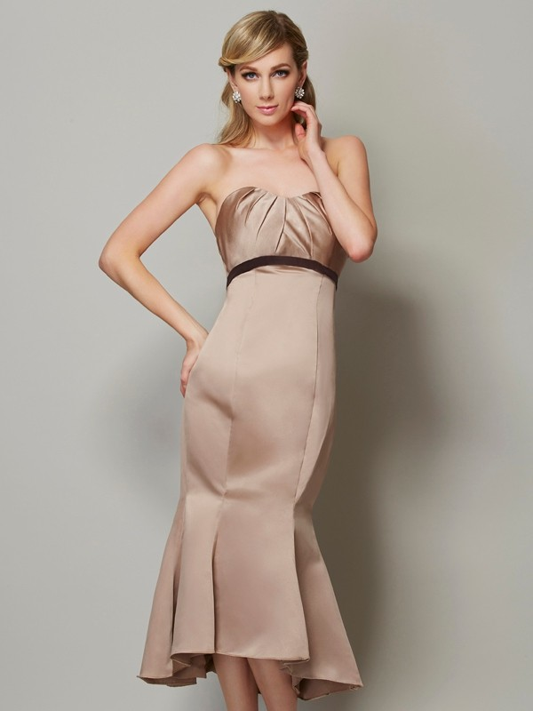 Chicregina Sheath Sweetheart Satin Tea-Length Dress With Sash