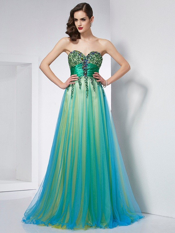 Chicregina Ball Gown Sweetheart Elastic Woven Satin Sweep Train Dress With Sequin Ruffles