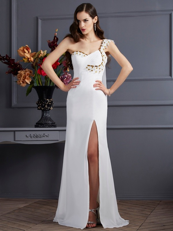 Chicregina Elegant A-Line One-Shoulder Chiffon Sweep Train Dress With Beading