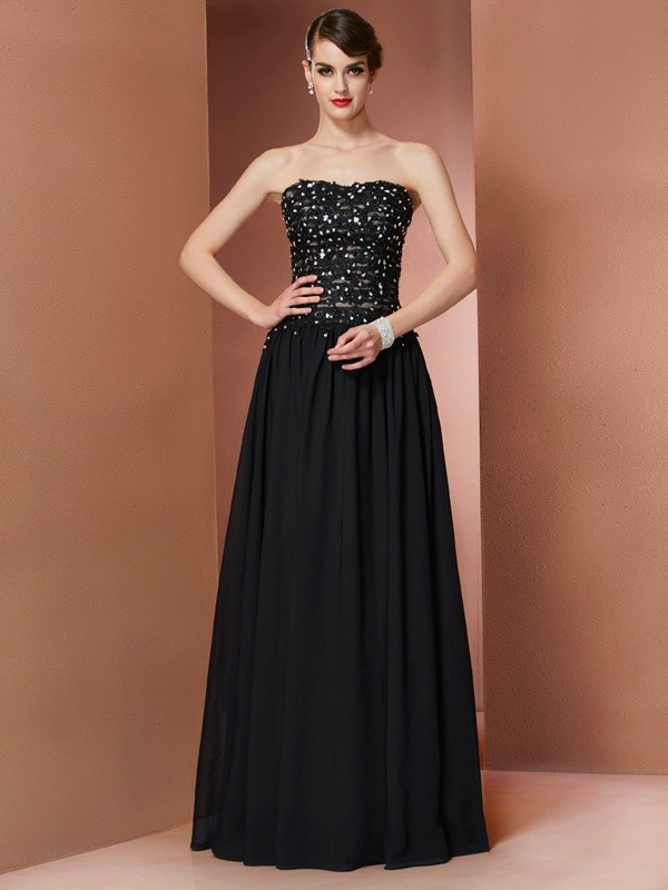 Chicregina A-Line Strapless Chiffon Long Dress With Applique