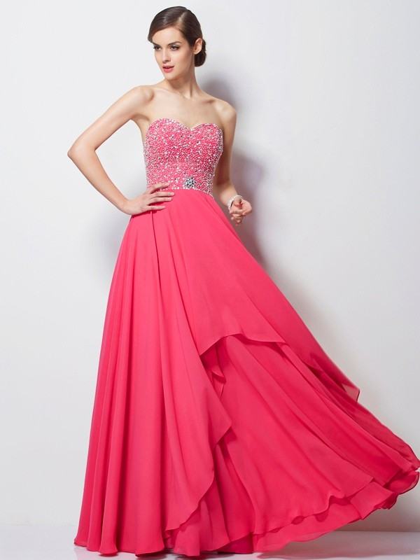 Chicregina Elegant A-Line Sweetheart Chiffon Long Dress With Sequin