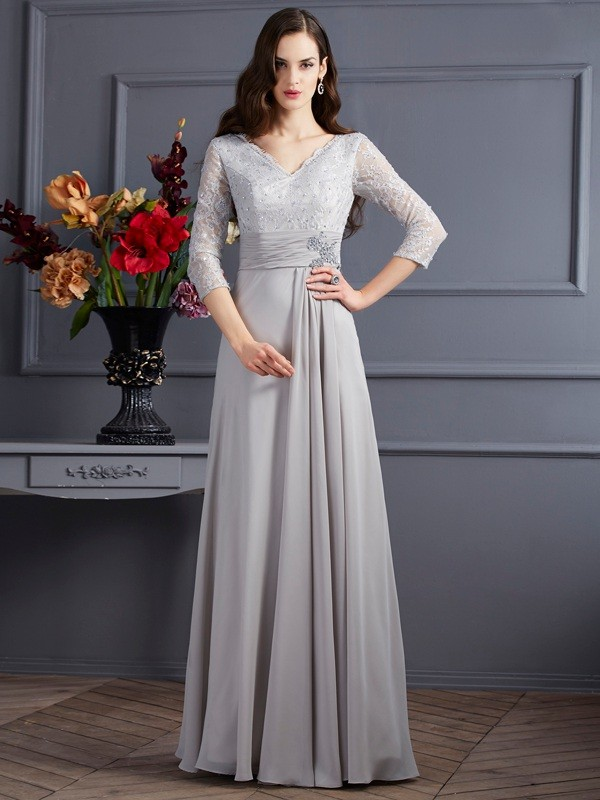 Chicregina A-Line Chiffon V-neck 3/4 Sleeves Long Dress With Ruffles Applique