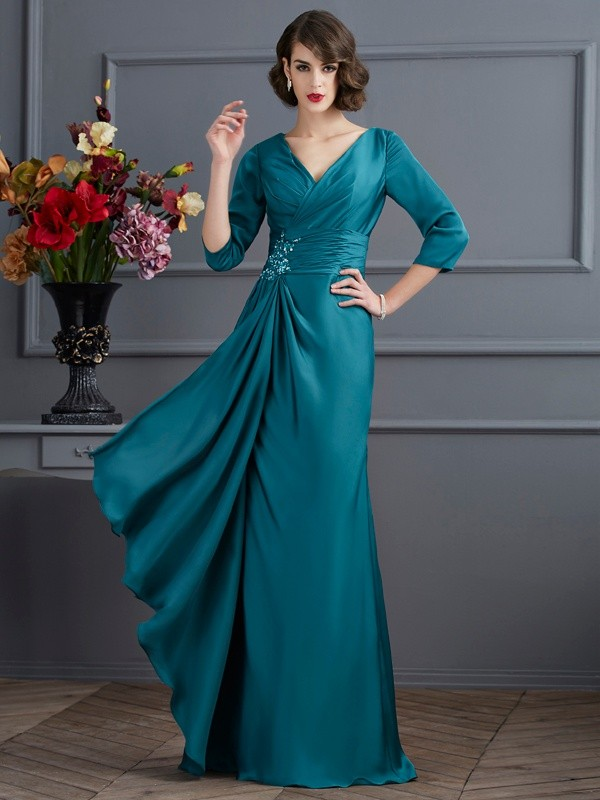 Chicregina A-Line V-neck 3/4 Sleeves Long Chiffon Dress With Beading
