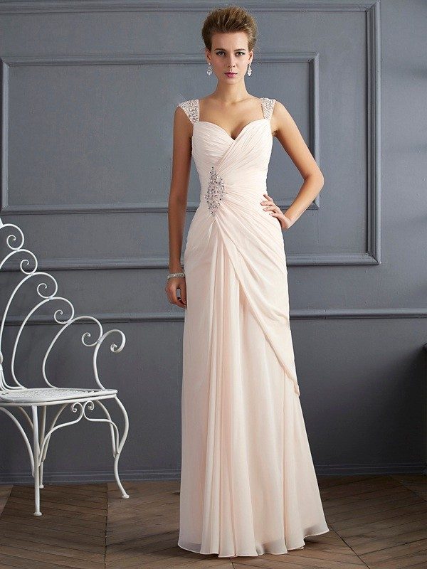 Chicregina Elegant Sheath Straps Long Chiffon Dress With Applique