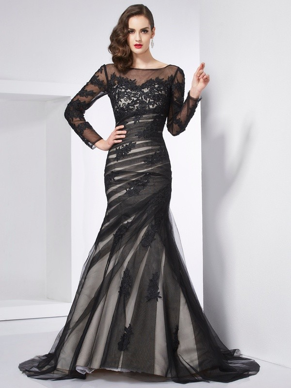 Chicregina Mermaid Jewel Long Sleeves Sweep Train Satin Dress With Beading Applique