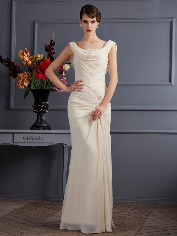 Chicregina Sleeveless Sheath Scoop Long Chiffon Dress With Beading