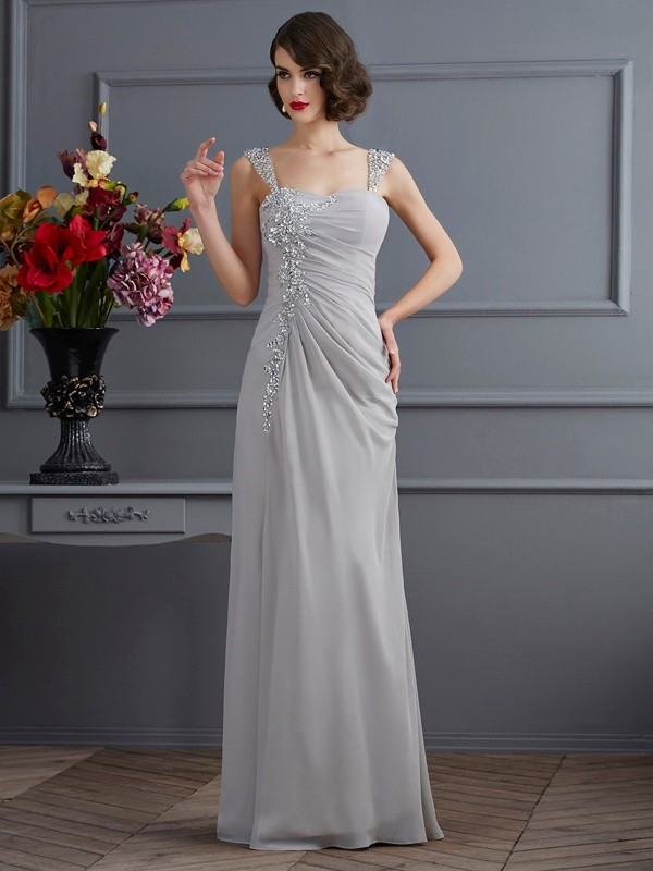 Chicregina Mermaid Straps Chiffon Long Dress With Beading