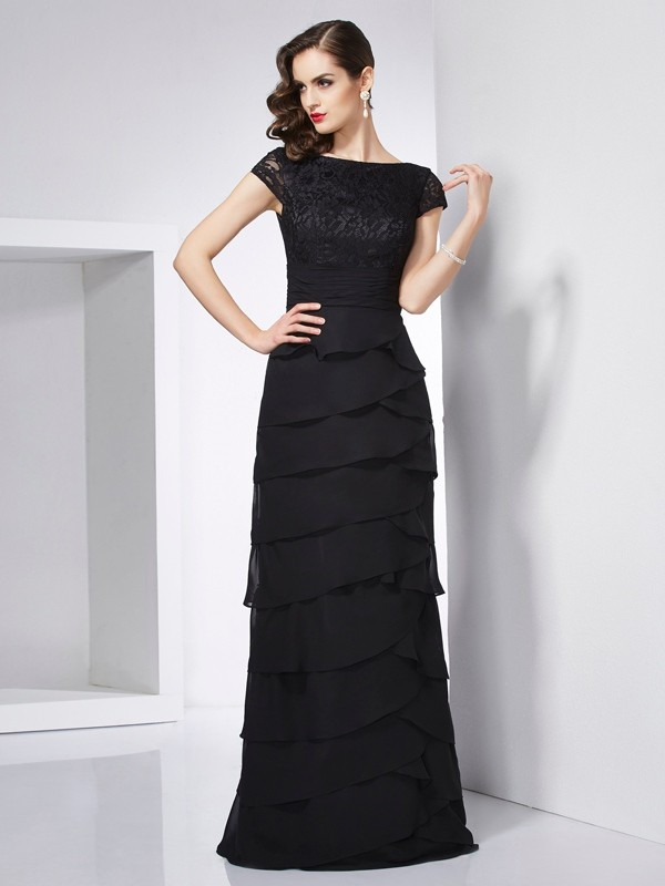 Chicregina Sheath Short Sleeves Chiffon Scoop Long Dress With Beading