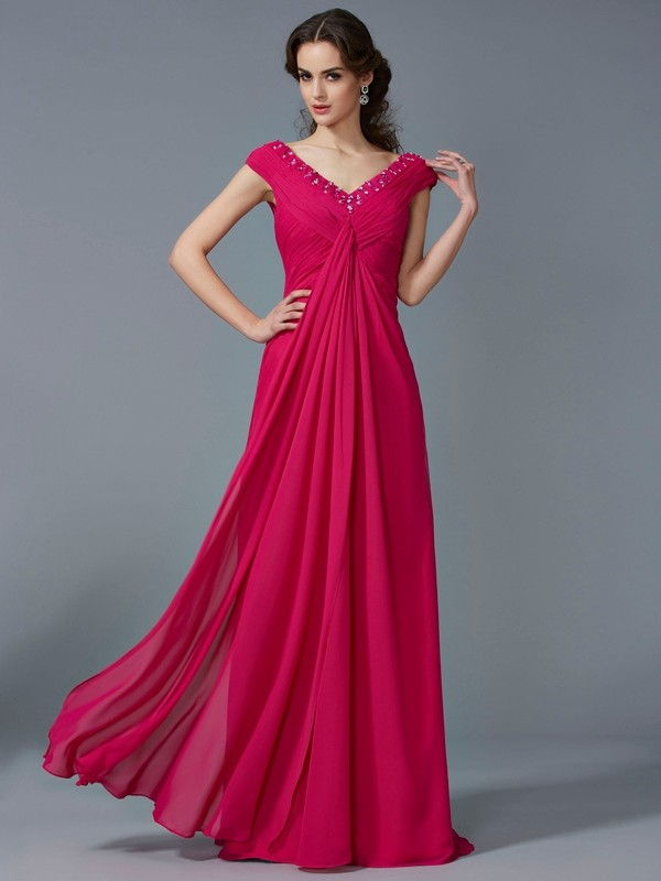 Chicregina A-Line V-neck Short Sleeves Long Chiffon Dress With Rhinestone