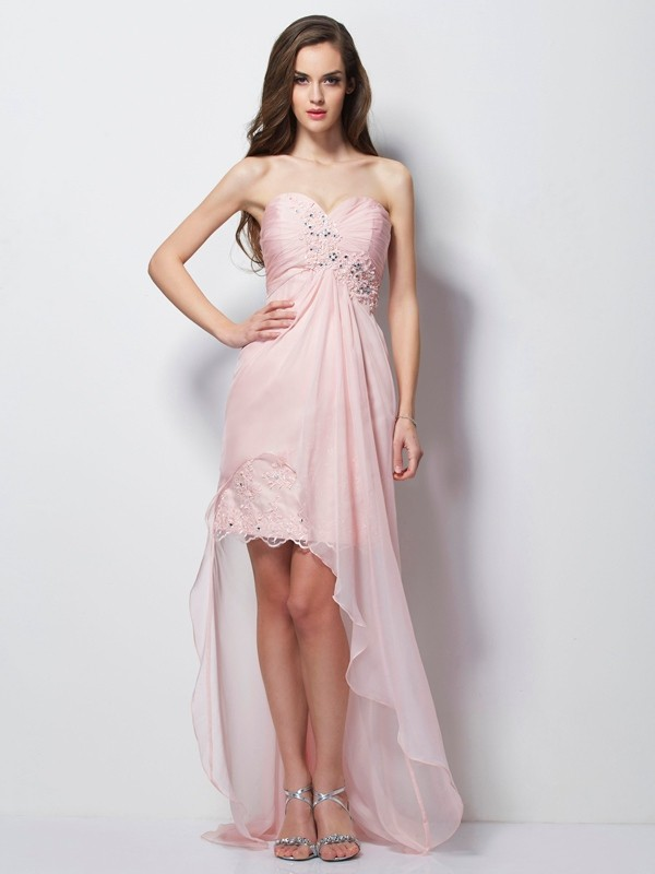 Chicregina A-Line Sweetheart Chiffon Asymmetrical Dress With Lace