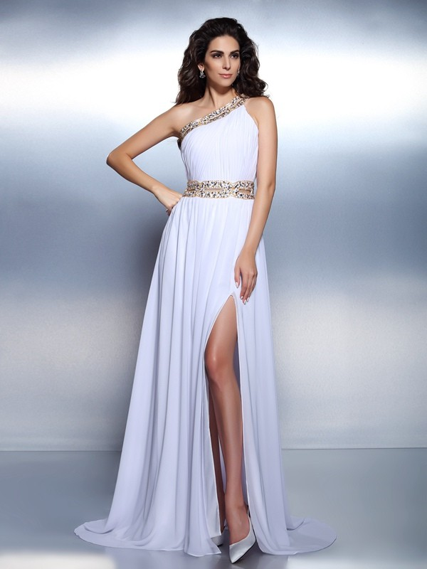 Chicregina Long A-Line/Princess One-Shoulder Chiffon Dress With Applique Beading
