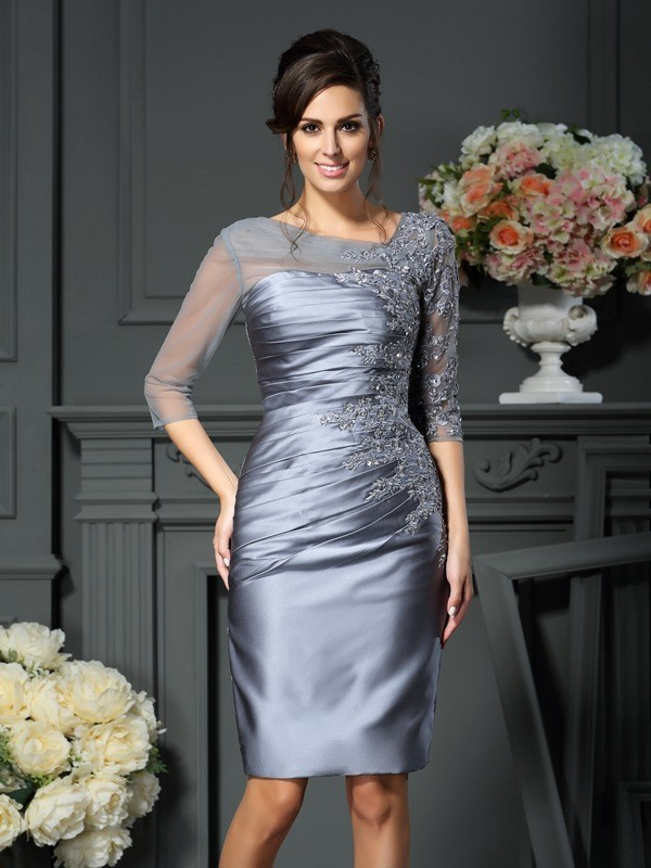 Chicregina Sheath Scoop Beading 1/2 Sleeves Knee-Length Satin Mother Of The Bride Dress With Beading