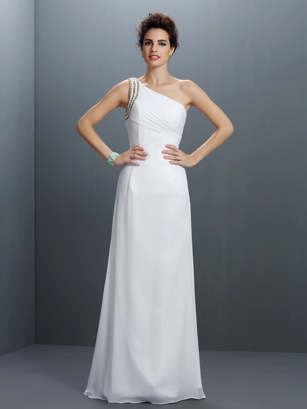 Chicregina Long Sheath/Column One-Shoulder Chiffon Dress With Embroidery