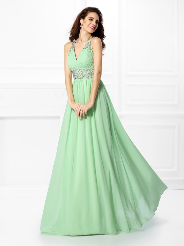 Chicregina Long A-Line/Princess V-neck Chiffon Prom Dress With Pleats Beading