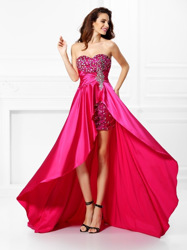 Chicregina Asymmetrical A-Line/Princess Sweetheart Paillette Elastic Woven Satin Dress with Ruffles
