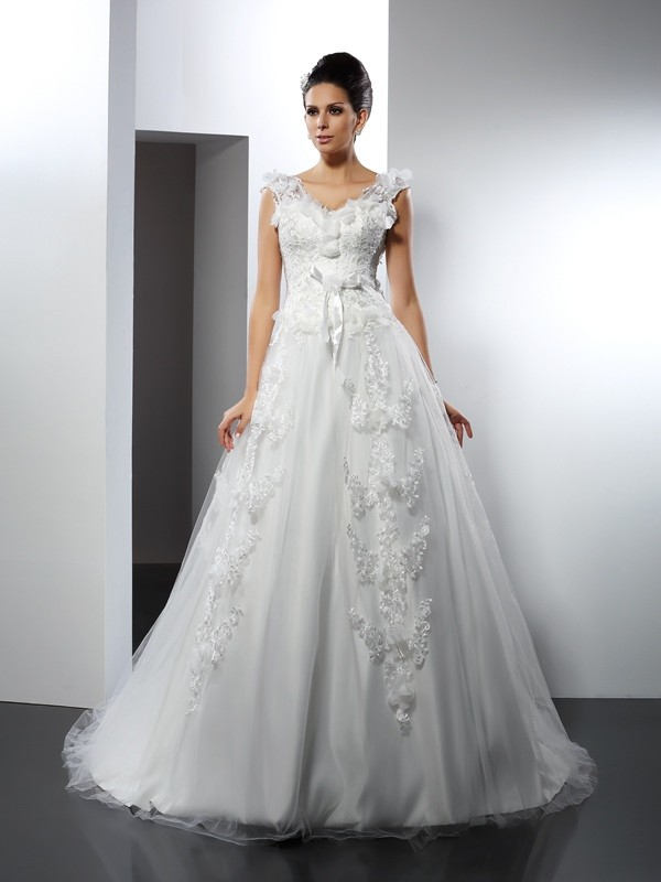 Chicregina A-Line/Princess Straps Lace Cathedral Train Satin Wedding Dress with Ruched