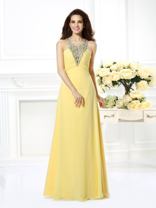 Chicregina A-Line/Princess V-neck Long Chiffon Dress with Ruched