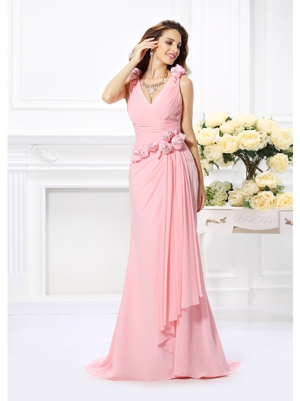 Chicregina Trumpet/Mermaid Chiffon V-neck Sweep/Brush Train Dress with Hand-Made Flower