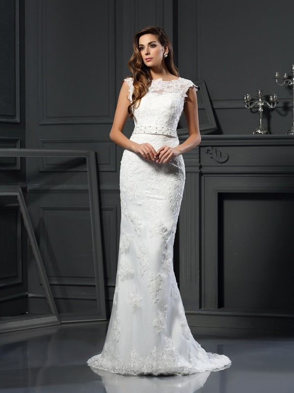 Chicregina Trumpet/Mermaid Bateau Satin Lace Court Train Wedding Dress With Beading