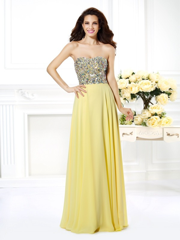 Chicregina A-Line/Princess Strapless Long Chiffon Dress with Pleats Beading Rhinestone