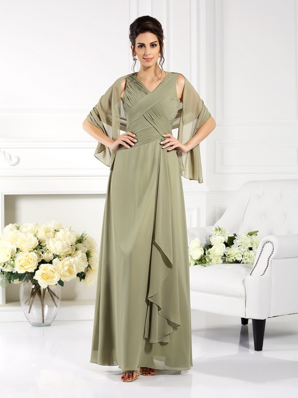 Chicregina A-Line/Princess V-neck Pleats Long Chiffon Mother Of The Bride Dress with Applique