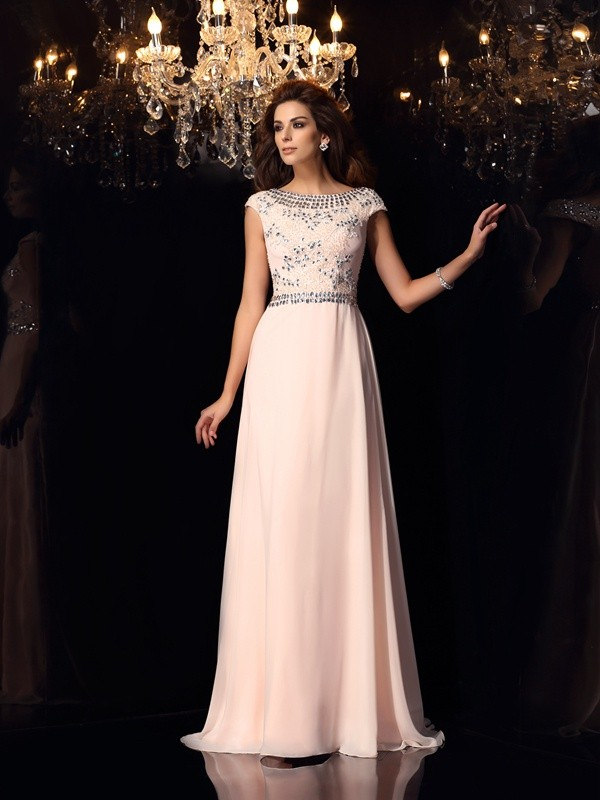 Chicregina A-Line/Princess Bateau Short Sleeves Beading Long Chiffon Dress with Lace