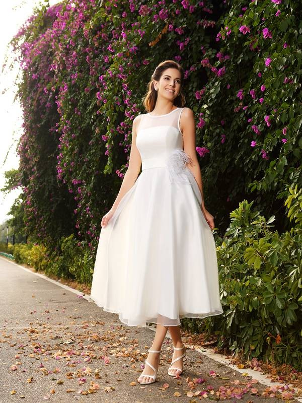 Chicregina A-Line/Princess Bateau Sash/Ribbon/Belt Satin Ankle-Length Wedding Dress with Embroidery