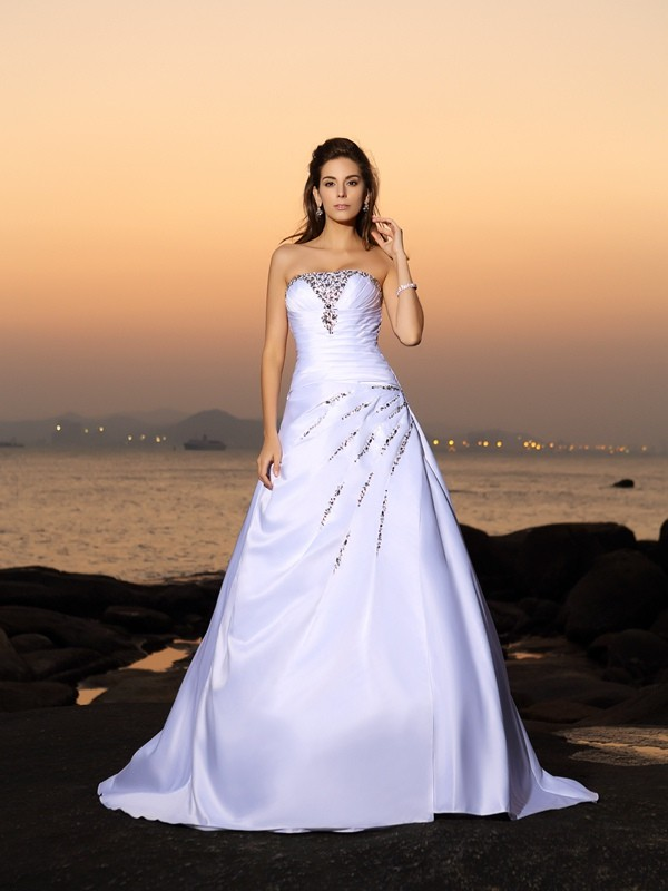 Chicregina A-Line/Princess Strapless Satin Chapel Train Wedding Dress with Ruffles