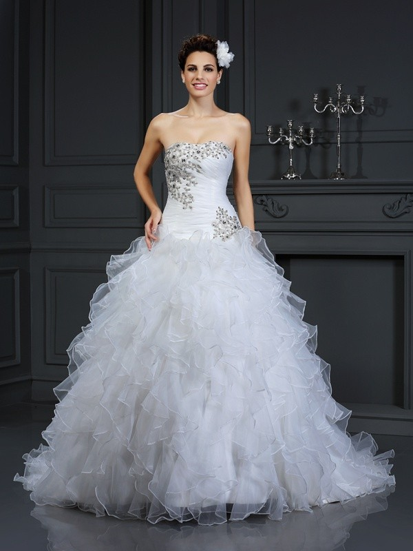 Chicregina Ball Gown Strapless Chapel Train Organza Wedding Dress with Rhinestone