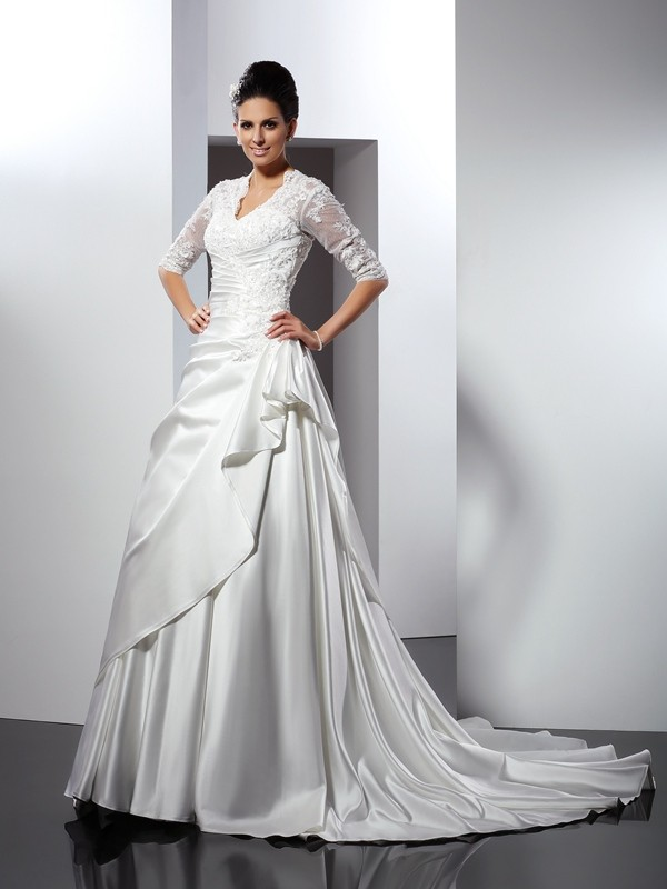 Chicregina A-Line/Princess V-neck 1/2 Sleeves Chapel Train Satin Wedding Dress with Lace