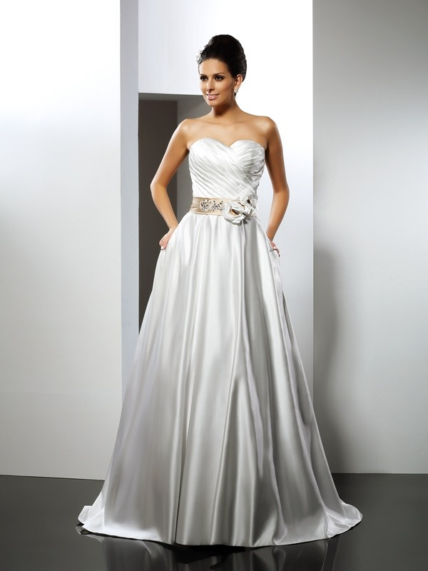Chicregina A-Line/Princess Sweetheart Court Train Satin Wedding Dress with Embroidery