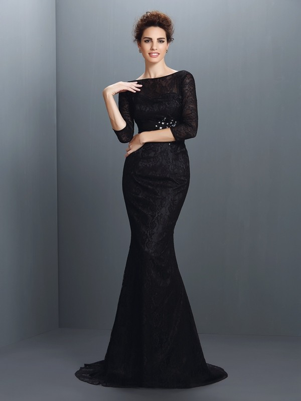 Chicregina Trumpet/Mermaid Bateau 3/4 Sleeves Lace Sweep/Brush Train Elastic Woven Satin Dress with Beading