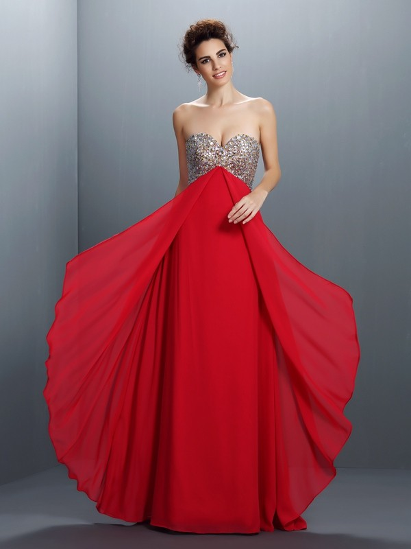 Chicregina A-Line/Princess Sweetheart Paillette Floor-Length Chiffon Dress with Ruffles