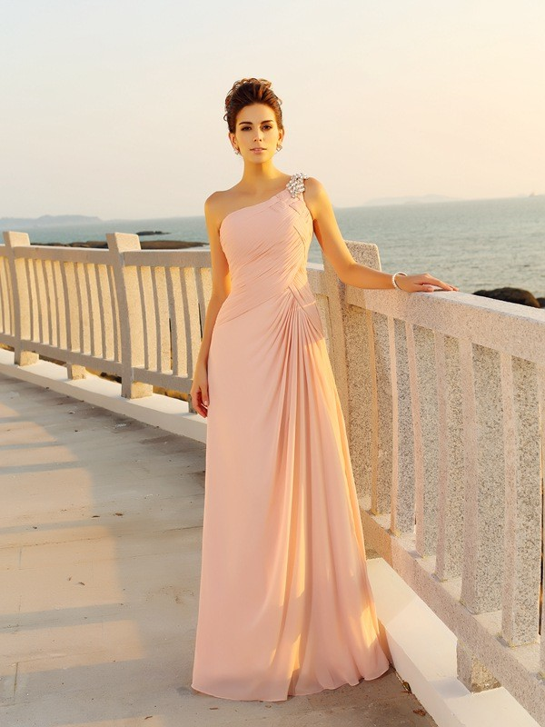 Chicregina A-Line/Princess Chiffon One-Shoulder Floor-Length Beading Dress with Beading