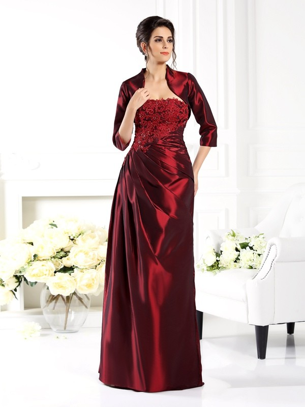 Chicregina A-Line/Princess Strapless 1/2 Sleeves Applique Floor-Length Taffeta Mother Of The Bride Dress with Embroidery