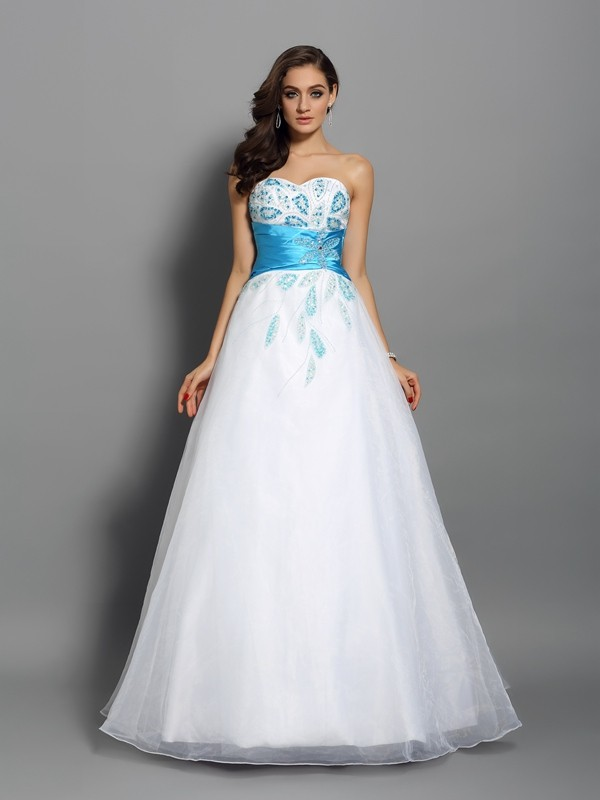Chicregina Long Ball Gown Sweetheart Satin Beading Dress with Rhinestone