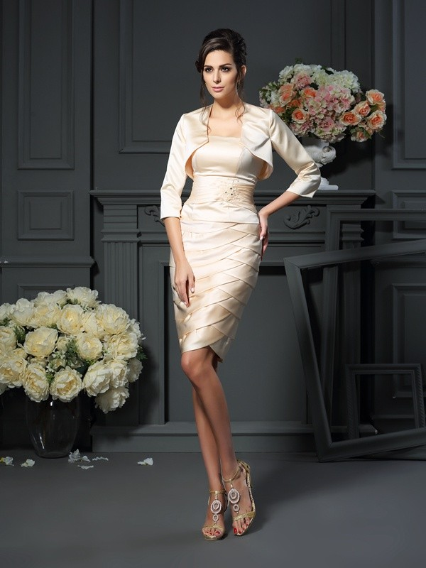 Chicregina Sheath/Column Strapless Pleats Knee-Length Satin Mother Of The Bride Dress with Pleats