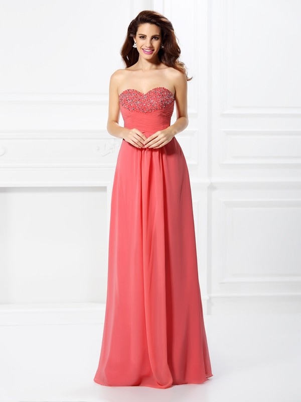 Chicregina Long A-Line/Princess Sweetheart Chiffon Dress with Applique