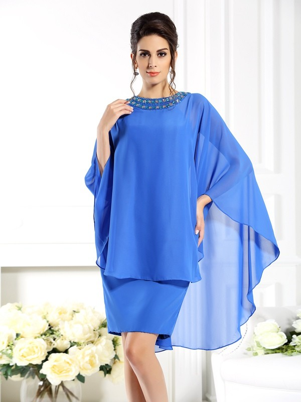 Chicregina Sheath/Column Bateau 3/4 Sleeves Knee-Length Chiffon Mother Of The Bride Dress with Beading
