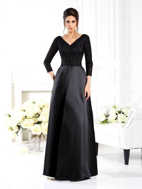 Chicregina A-Line/Princess V-neck 3/4 Sleeves Beading Floor-Length Satin Mother Of The Bride Dress with Applique