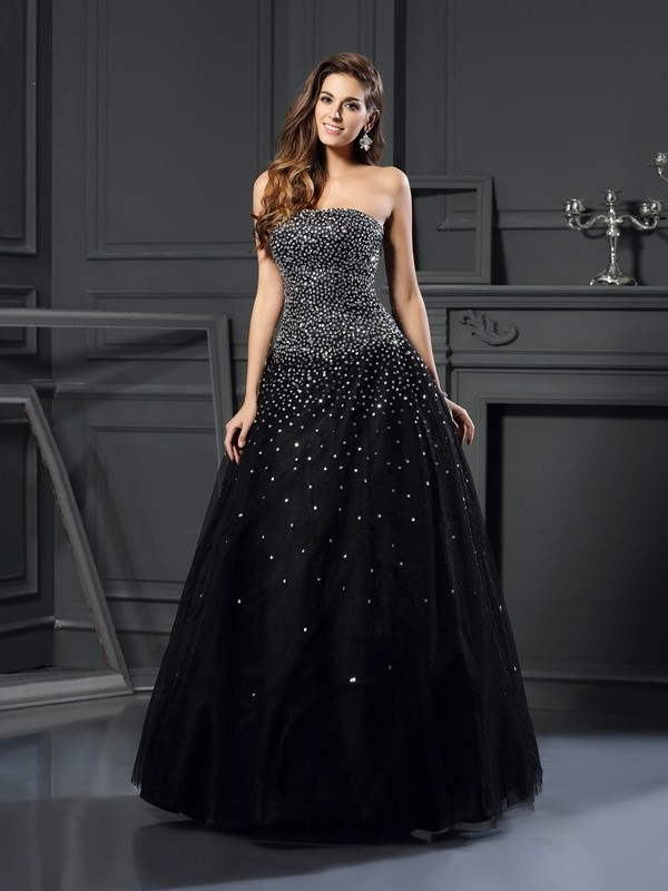 Chicregina Long Ball Gown Strapless Satin Beading Dress with Ruched