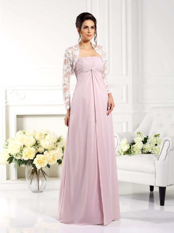 Chicregina A-Line/Princess Strapless Lace Floor-Length Chiffon Mother Of The Bride Dress with Rhinestone